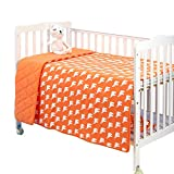 EsTong Baby Pure Cotton Knit Soft Reversible Cartoon Printing Crib Quilt Blanket For Toddler Orange Elephant