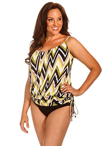 bdb77ababd Magicsuit Women s Plus Size Shockwave Shelly Tankini Top Yellow Swimsuit Top  20W