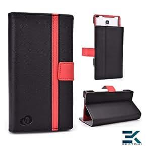 [Matrix] PU Leather Universal Book Folio Phone Cover fits Samsung ATIV S Neo Case - BLACK & RED. Bonus Ekatomi Screen Cleaner