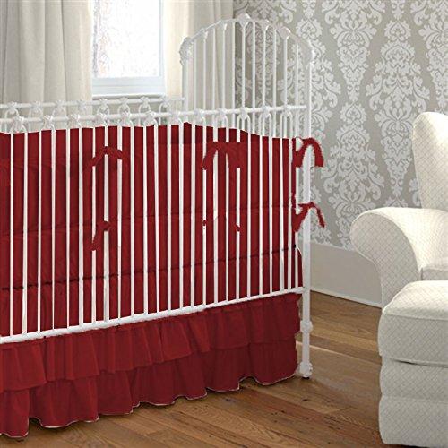 (Nursery Baby Crib Bedding Set 100% Egyptian Cotton 500 TC 5-Piece Set Fitted Sheet, Ruffle Skirt,Comforter,Bumper,Pillowcase (Burgundy,Crib))