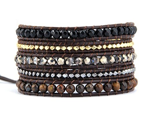 Mix Stone Crystal & Metal Nuggets Wrap Bracelet Handmade Woven Leather 5 Multilayer 4 mm Beads Boho - Mm Nugget Bracelet 4