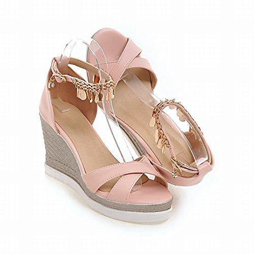 Pink Sandals Metal Elegant Wedges Ornament Womens Charm Foot Platform Heeled q7wzRR