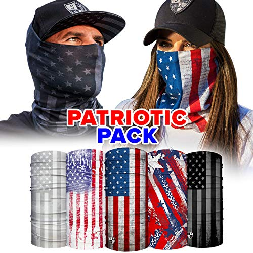 S A - UV Face Shield 5 Pack - Patriotic - Multipurpose Neck Gaiter, Balaclava, Elastic Face Mask for Men and Women
