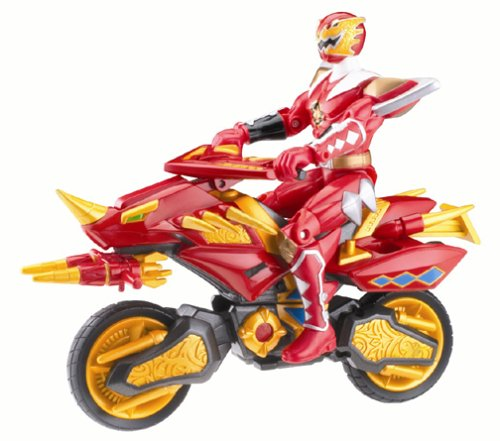 Power Rangers Dino Thunder Red Triassic Hovercraft Cycle wit