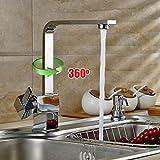 ALTON EDGE Single Lever Kitchen Sink Mixer Tap Contemporary Designer Chrome Finish Cubic Brass Body High Arch Flat Swivel Spout Mixer / L-Type Kitchen Tap