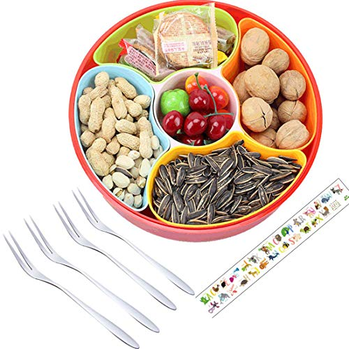 Serving Bowl with Cover, 5 Removable Colorful Compartments Appetizer Server Snacks Candy Chips Serving Tray for Children Party, Gift ABC Sticker & 4 PCS Fruit Forks (Tray Four Compartment)