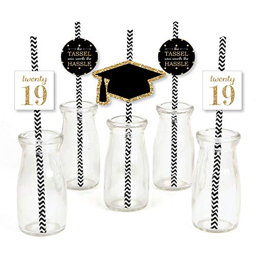 Gold Tassel Worth The Hassle Paper Straw Decor - 2019 Graduation Party Striped Decorative Straws - Set of 24 -