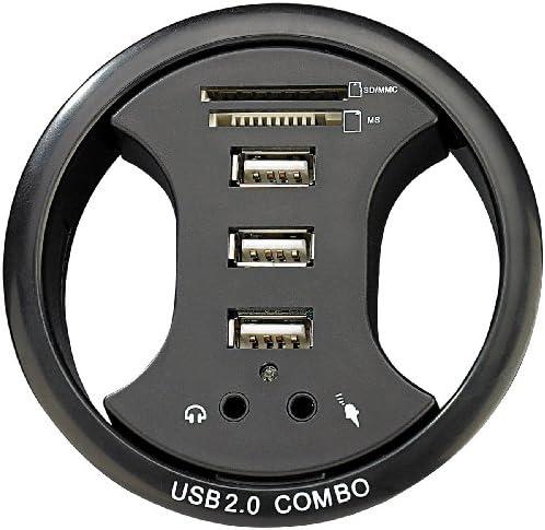 Xystec Tisch Kabeldose 80 mm, mit USB Hub, Card Reader&Audioanschluss