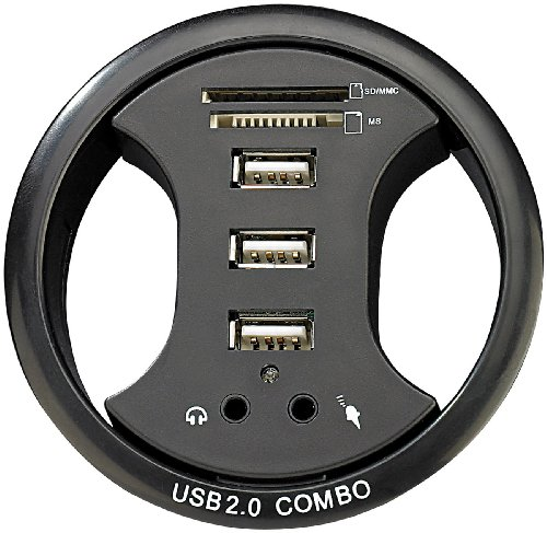 Xystec - Organizador de cable para mesa con hub para 3 USB, lector de tarjeta y entrada de audio (80mm)