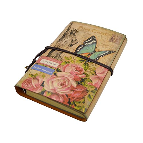 Vintage Traveler Notebook Sketchbook Classic Refillable Diary Planner with Blank Paper and Zipper Pocket Butterfly by Olivia