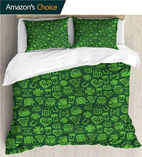 VROSELV-HOME Cotton Bedding Sets,Box Stitched,Soft,Breathable,Hypoallergenic,Fade Resistant Print Queen 1 Duvet Cover 2 Pillowcases Wrinkle Fade Resistant-Irish Kiss Me Im Irish Humor (90