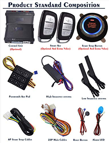 KUNFINE Smart Security Car Alarm Passive Keyless Entry Auto Central Lock Push Button Car Engine Start Stop Compatiable for 1100QY Neutral Main Unit Without Any Brand