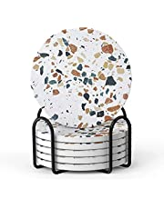 LIFVER Coasters for Drinks, Terrazzo Absorbent Drink Coasters with Holder, Housewarming Hostess Gifts for New Home, Man Cave House Warming Presents Decor, Living Room Decor, 4 inches, Set of 6