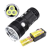 Aidisun 6000 Lumen LED Flashlight Waterproof 3 * T6 Super Bright Tactical Flashlight 3-Modes Torch with Rechargeable Batteries and Charger Adapter