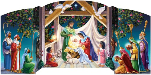 Vermont Christmas Company Visiting the Manger Free Standing Advent Calendar]()