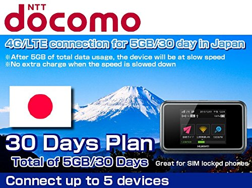 Docomo SIM Card 4G/LTE Japan Mobile WiFi Hotspot Rentals 5GB - 30 Day by VISION GLOBAL WiFi