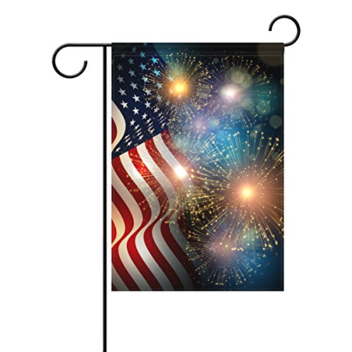 ALAZA Duble Sided Celebrate Patriotic Independence Fireworks USA Memorial Day Fourth of July Celebration Polyester Garden Flag Banner 12 x 18 Inch for Outdoor Home Garden Flower Pot Decor