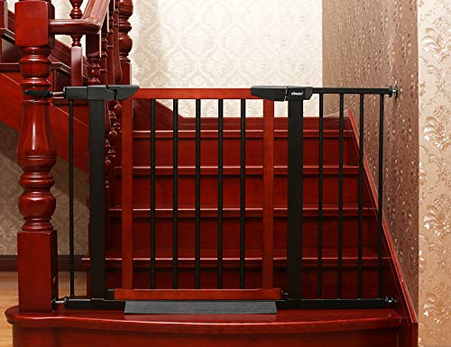 Baby Gate/Baby Gate for Stair with Banisters/Pet Gate, Fit Stairway or Doorway, Extendable, Auto Close, Pressure Mount (Metal)