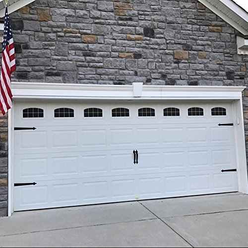 Arched Style Vinyl Garage Door Decal Kit - Faux Windows (Gloss Black)