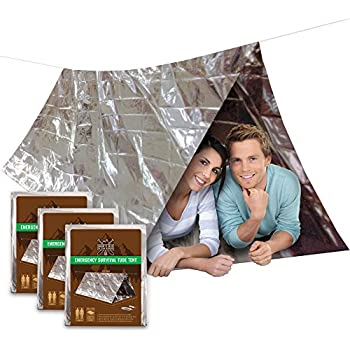 3 PACK Emergency Shelter Tube Tents | Must-Have Outdoor Safety & Survival Gear for Your Hiking, Camping, & Backpacking First Aid Kit | Ultralight Thermal Mylar | Lightweight Waterproof Tent