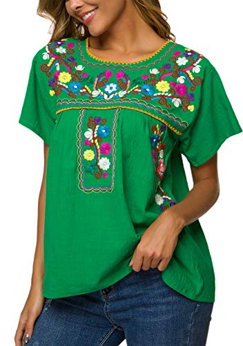 YZXDORWJ Women's Embroidered Mexican Peasant Blouse (S, B269-G)