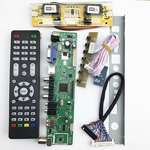 Universal LCD TV Controller Driver Board PC/VGA/HDMI/USB Interface 4 lamp inverter+30pin 2ch-8 bit lvds by BONATECH