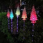 2 Pack Solar Garden Lights,Crystal Christmas Tree Stake Light Color Changing Decorative Landscape Lighting LED Solar…