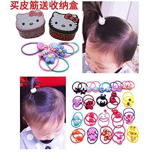 OLIJU Wholesale Iron Boxed Baby Hair Children Rope tie Cute Little Princess Rubber Band Does not Hurt Ring Cartoon (40 Matte Feed Storage Box Cartoon -