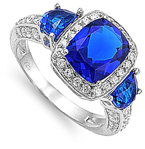 Blue Simulated Sapphire Engagement Halo Ring New .925 Sterling Silver Band Sizes 5-10