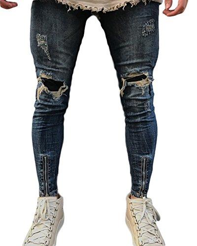 Hombres Pantalones, Vintage Skinny Rotos Transpirable Ajustado Motocicleta Vaqueros Azul