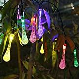 Fheimin® Solar Water Drop Christmas Lights 15.7ft 20 LED 6 Modes Waterproof Icicle Globe Solar Fairy String Lights for Outdoor, Gardens, Homes, Wedding, Holiday, Party Decorations(20 LED Multi color)