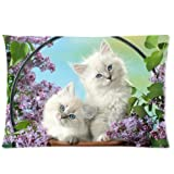 Beautiful White Cat Kitten with Flowers Pillowcase - Pillowcase with Zipper, Pillow Protector, Best Pillow Cover - Standard Size 20x30 inches, Twin-sided Print