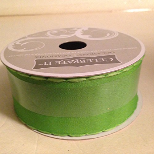 Green grograin ribbon with scallop edge(2 rolls per order) (1.5 Inch Scallop)