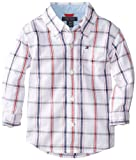 Image of Tommy Hilfiger Baby Boys' Samuel Plaid Shirt, White, 24 Months