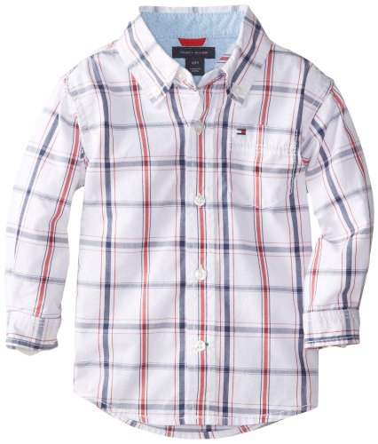 Tommy Hilfiger Baby Boys' Samuel Plaid Shirt, White, 12 - Sale Tommy Kids
