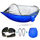 Durable Parachute Nylon Hammock: this kind of parachute nylon is more sturdy than normal ones, easy to dry, breathable material is selected to keep skin comfortable; it could bear up to 440 lbs; 9.5 feet (Length) * 4.7 feet (Width)Considerate Mosquit...