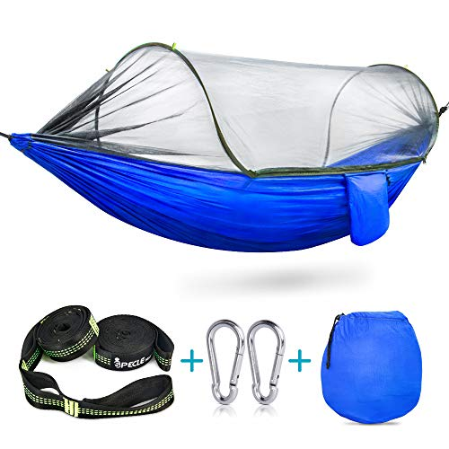 Camping Hammock with Mosquito Bug Netting Tent,iSPECLE Hanging Swing Outdoor Travel Hammock Bed with Tree Straps Stuff Sack Lightweight Folding Portable Easy to Set up Yard Backpacking Hiking Sleeping