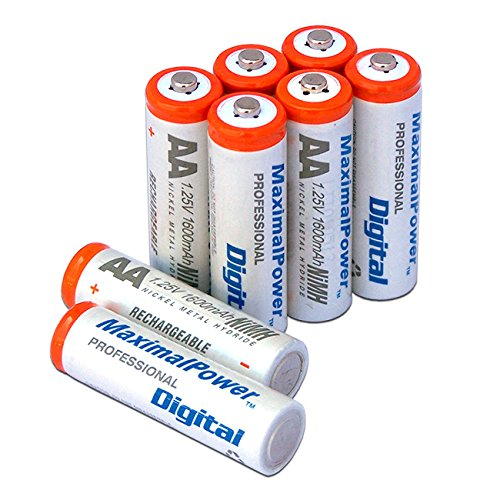 MaximalPower AA NiMH/Ni-Mh Rechargeable Battery 1600mAh Batteries Pack Count X 8