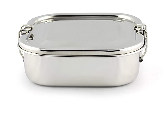 2f1aef355375 Amazon.com: IndiaBigShop Stainless Steel Square Shape Lunchbox, Food ...