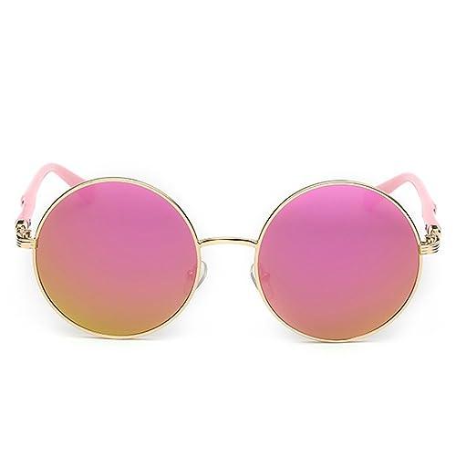 iShine Classico Moda Piccola Rotonda Lenti Specchio Struttura in Metallo Occhiali da Sole per Donne