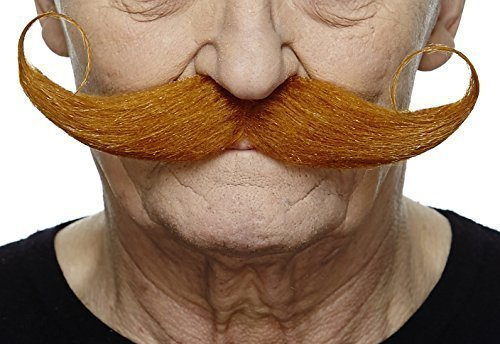 Pancho Villa Mustache (Mustaches Self Adhesive Fake Mustache, Novelty, Capt' Hook False Facial Hair, Costume Accessory for Adults, Ginger)