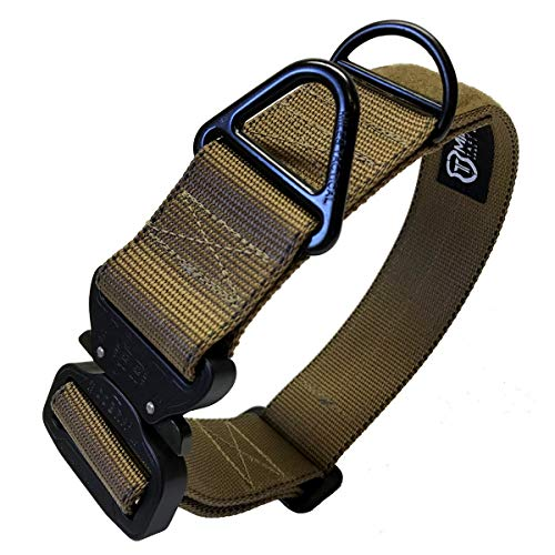 Miles Tactical K9 Cobra Buckle Dog Collar for Large Dogs Heavy Duty (Large, Coyote Brown)