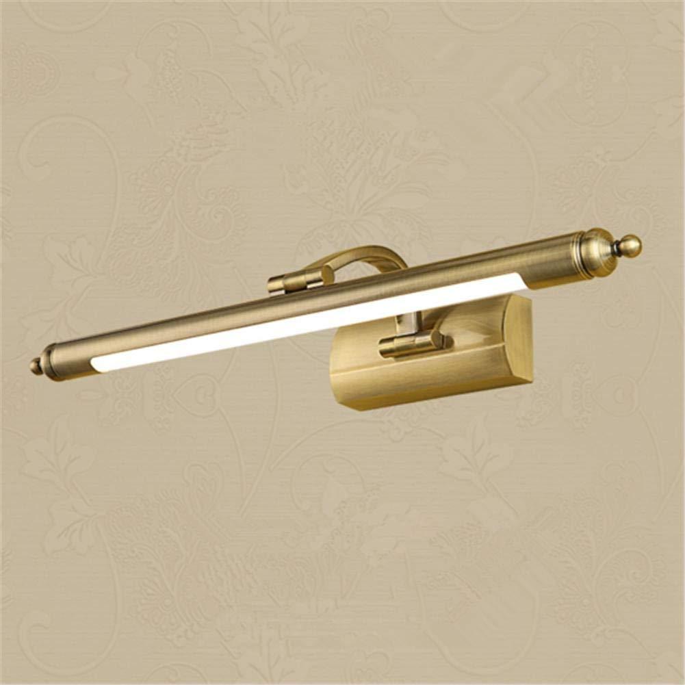 Size : 40cm Illuminazione bagno Specchio Frontale in lega di zinco a Led dorata Lampada da trucco per lampada da parete con lampada da parete