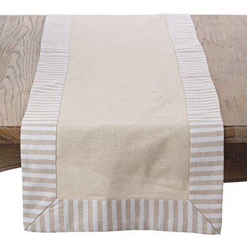 SARO LIFESTYLE Stripe Pattern Border Design Linen Cotton Table Runner, 16