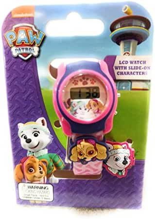 Paw Patrol Everest & Skye LCD Watch with Slide On Characters Pink/Purple