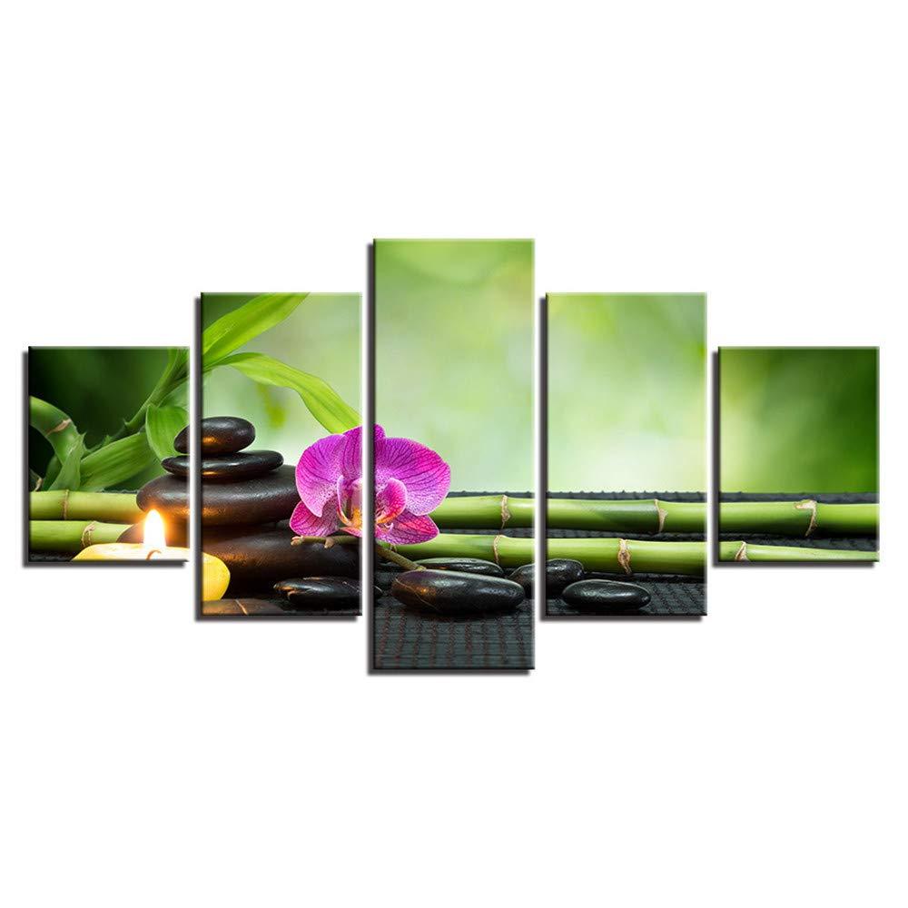 SUYUN Pintura Decorativa, Flor de Piedra Wulian bambú Hoja Verde ...