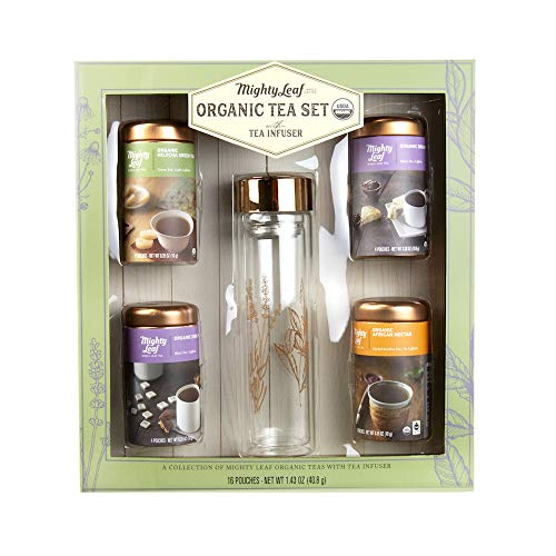 Cookie Basket Dreams - Mighty Leaf Organic Tea Set with Tea Infuser | A Collection of Four Delicious Leaf Organic Teas with an included Tea Infuser