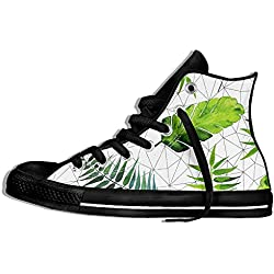 NAFQ Green Plants Palm Classic Canvas Sneakers Shoes Lace Up Unisex High Top
