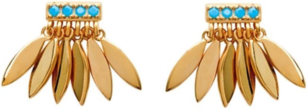 Pendientes bañado en oro y piedra turquesa–pequeñas plumas múltiples–indio étnico