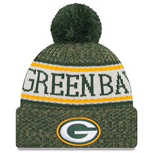 New Era Knit Green Bay Packers Green On Field Sideline Sport Knit Winter Stocking Beanie Pom Hat Cap 2015